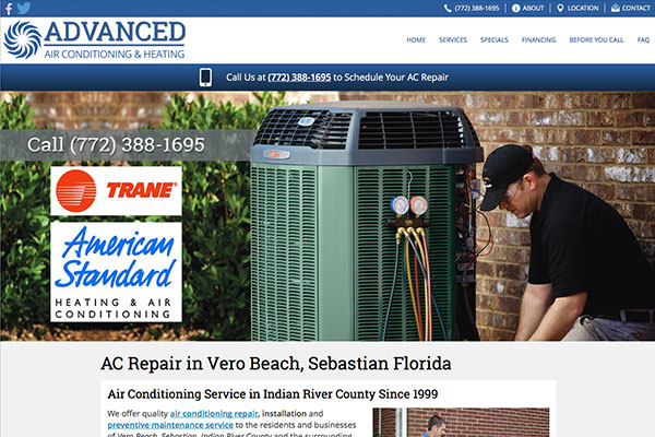 Screenshot of the Advanced Air Conditioning Website