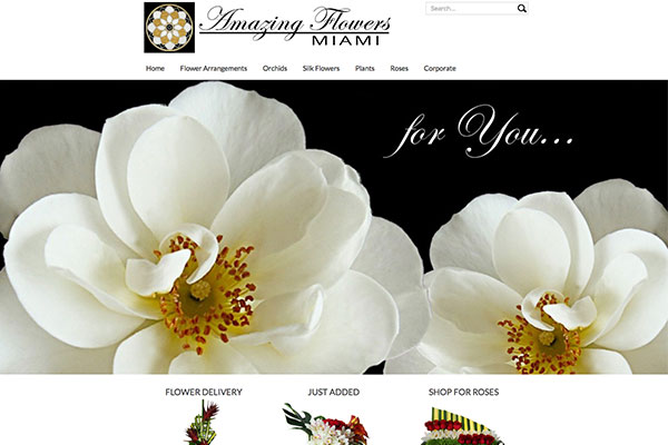 Screenshot of the Amazing Flowers Miami Website