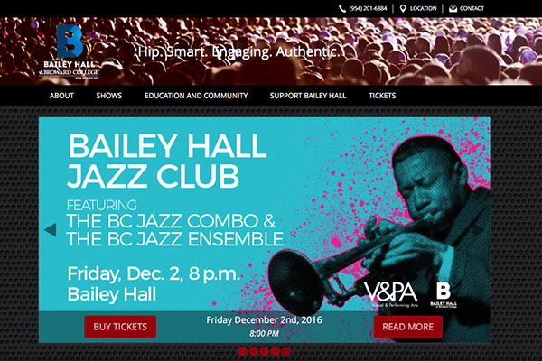 Screenshot of the Bailey Hall Website
