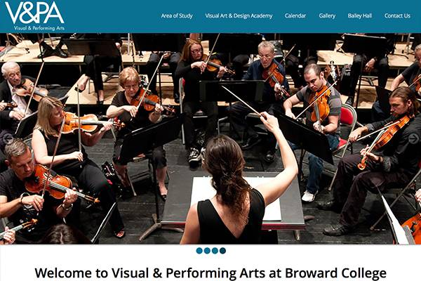 Screenshot of the Broward College V&PA Website