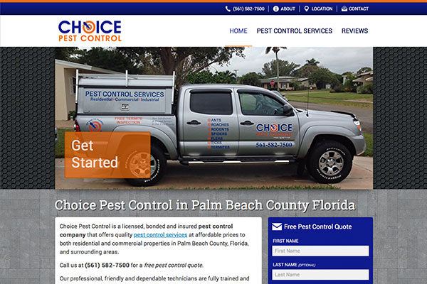 Screenshot of the Choice Pest Control Website
