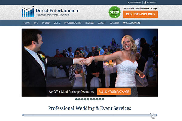 Screenshot of the Direct Entertainment Website