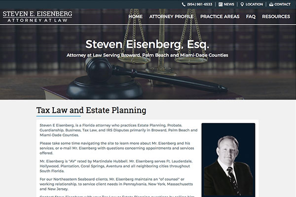Screenshot of the Steven Eisenberg, Esq. Website