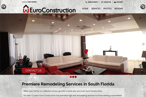 Screenshot of the Euro Construction Website