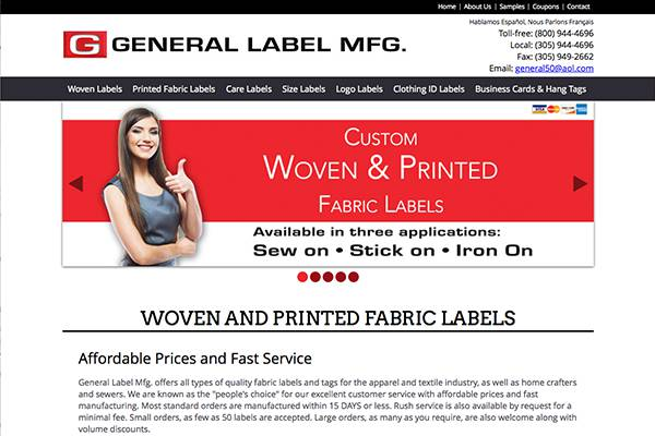 Screenshot of the General Label Mfg Website