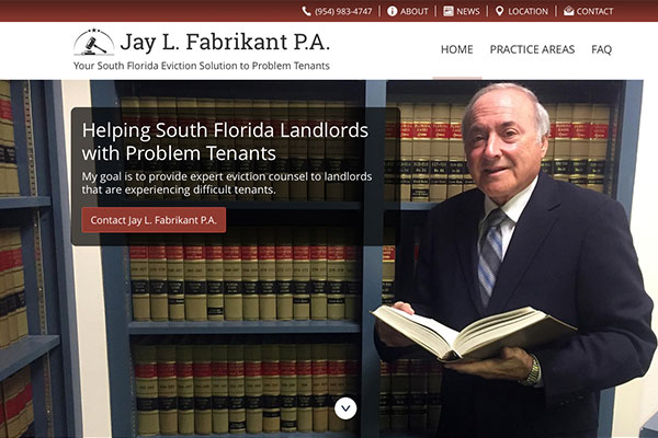 Screenshot of the Jay Fabrikant P.A. Website