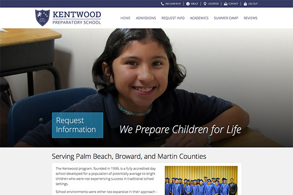 Screenshot of the Kentwood Preparatory School Website