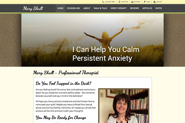 Screenshot of the Mary Shull - Licensed Therapist Website