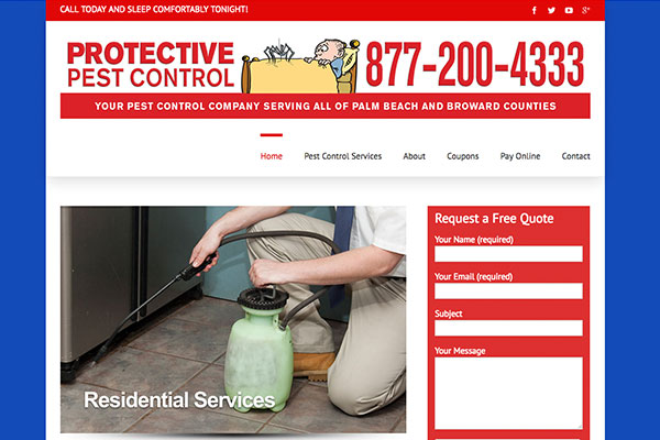 Screenshot of the Protective Pest Control Website