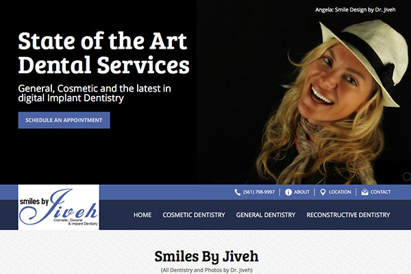 Screenshot of the Smiles By Jiveh Website